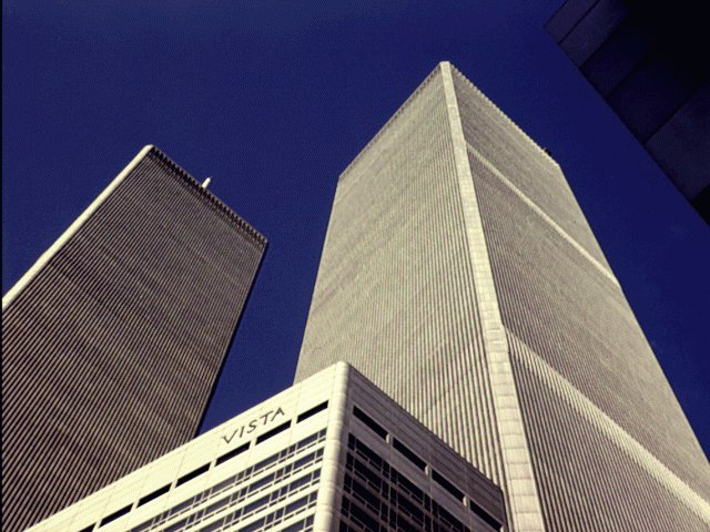 World Trade center towers. The famous TIME magazine cover picture.