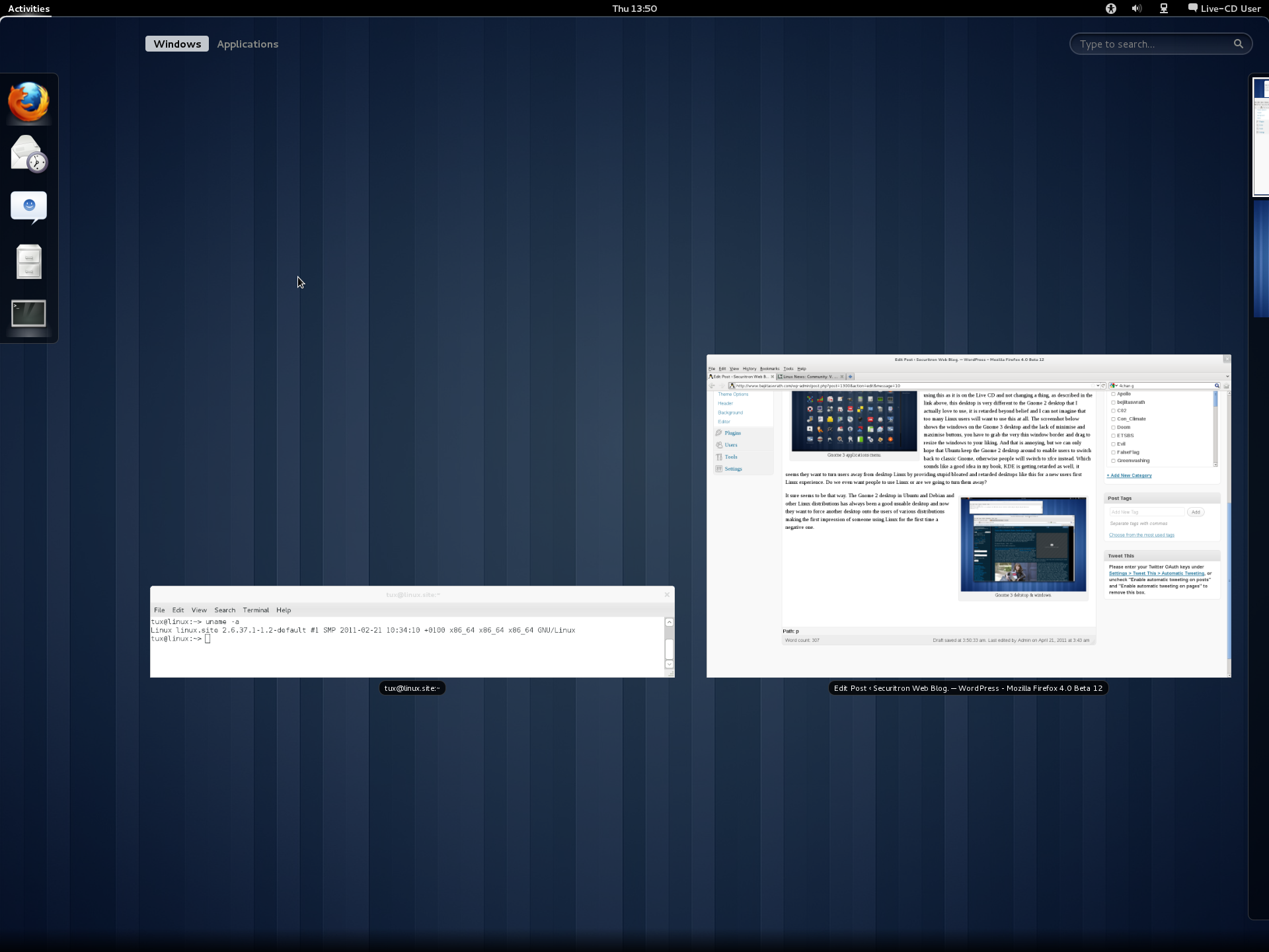 Gnome 3 activities view.