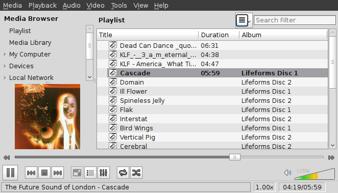 VLC playlist with MP3 files loaded. FSOL Lifeforms