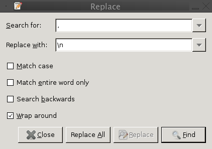 Gedit search and replace dialog.