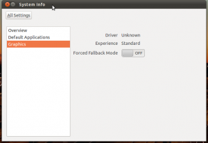 Graphics options to switch on Gnome fallback mode.