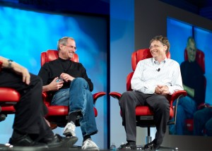 Bill Gates and Steve Jobs. Quite comfy with their closed source operating systems.