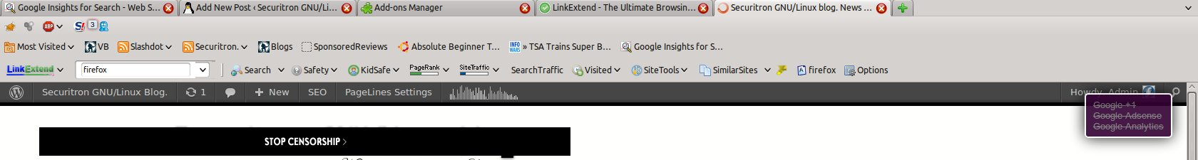 My Firefox 11.0 toolbar. Showing the extensions I have installed.