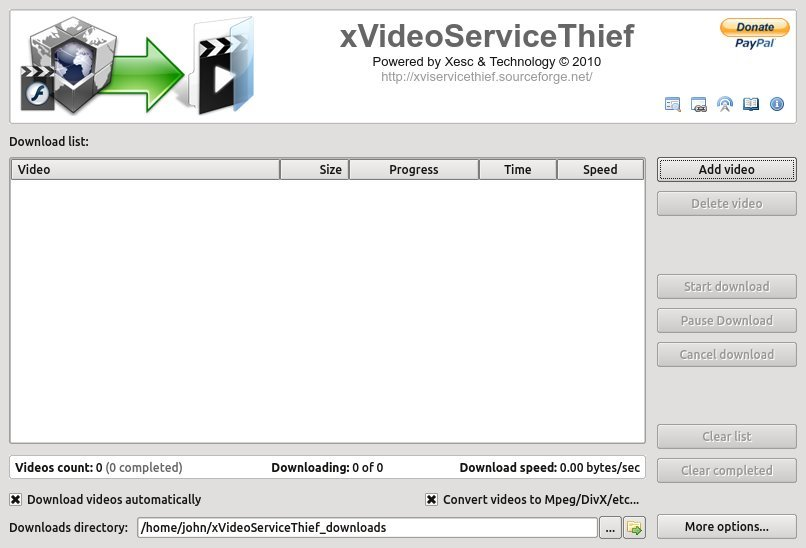 Xvideo Service Thief. A good video downloader for Linux. The main application window.