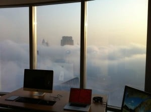 Foggy city morning. The Apple view of New York?