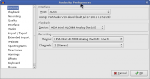 Setting up Audacity to record from line-in.