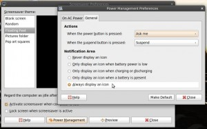 Power management settings. Switch on the battery icon.