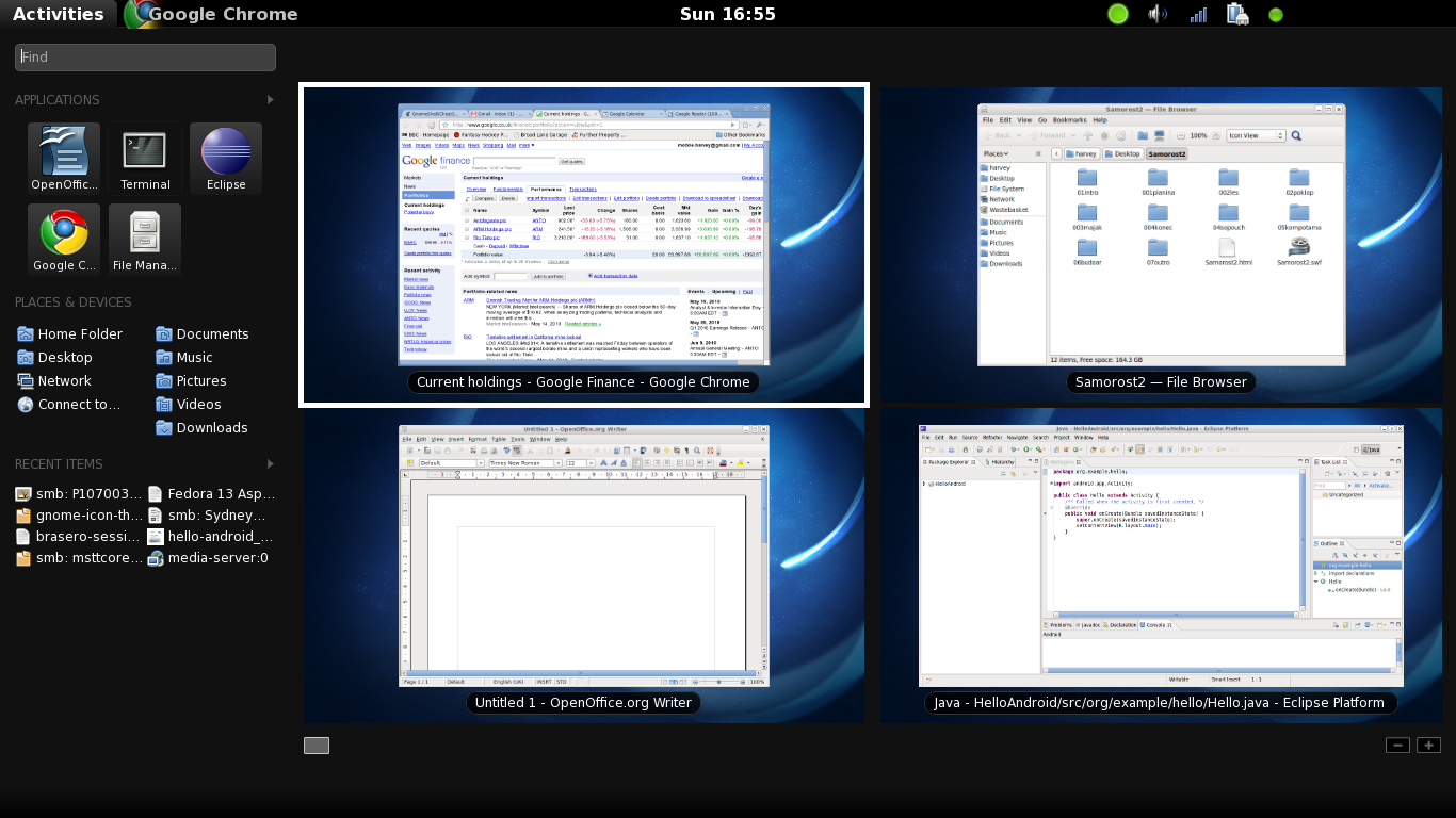 Fedora Linux desktop with Gnome Shell.