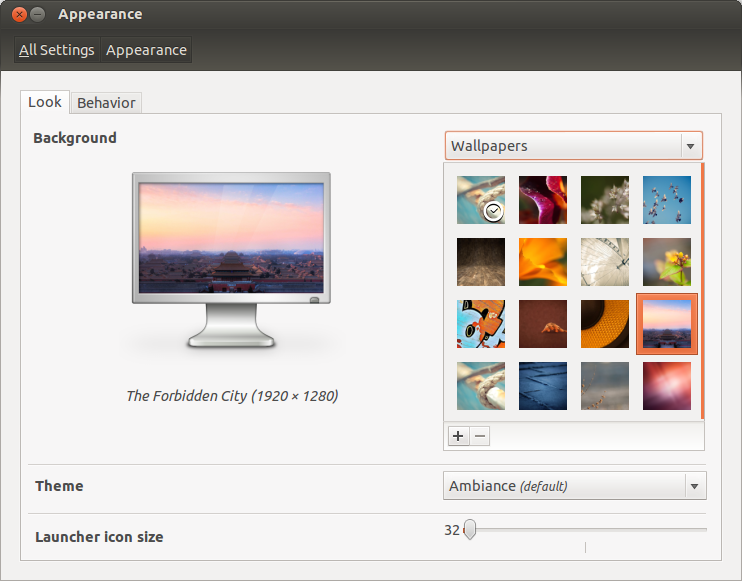 Ubuntu 12.10 wallpapers selection. And setting launcher icon size.