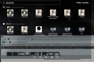 Using the music filter to display music matching a search keyword.