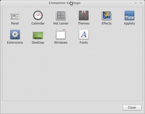 Cinnamon settings window, Linux Mint 13.
