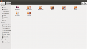 Ubuntu 12.10 Nautilus file manager. The all new look.