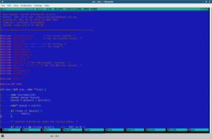 Editing C code with Midnight Commander.