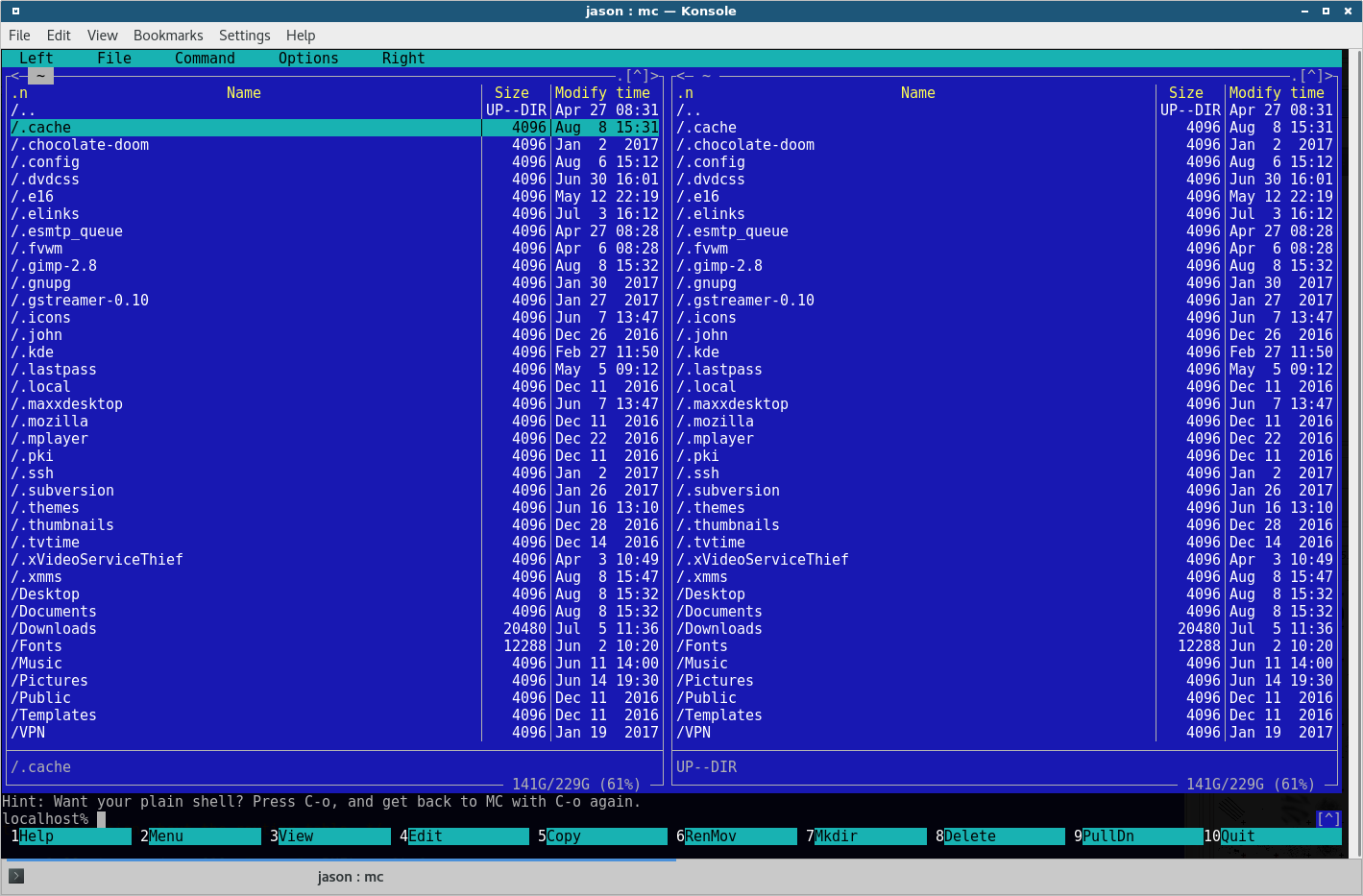 Midnight Commander file manager view.