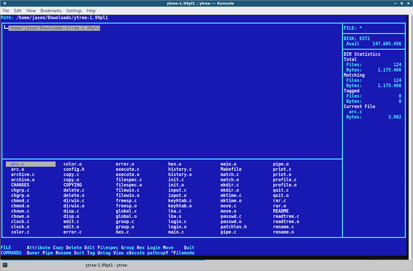Ytree file manager on Fedora Linux.
