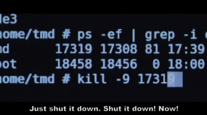 Encom UNIX sh prompt.