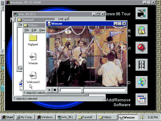 The Windows '95 desktop. Look at those icons...