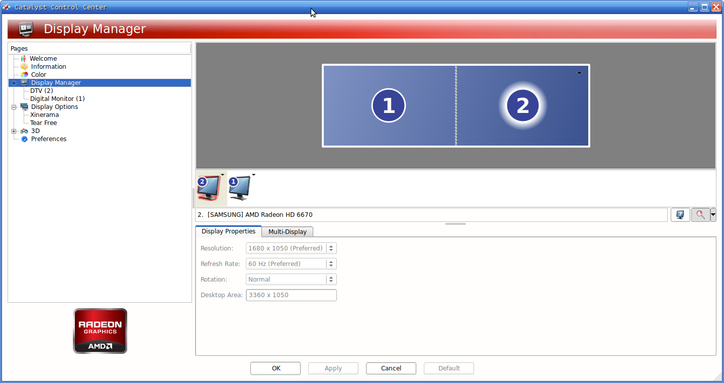 Setting up dual monitors with the Catalyst display manager.