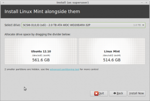 Resizing partitions to fit Linux Mint 14.