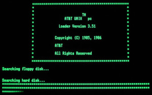 AT&T UNIX booting up.