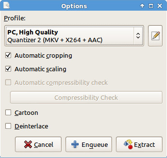 Setting DVD ripping options in the OGMRip application.