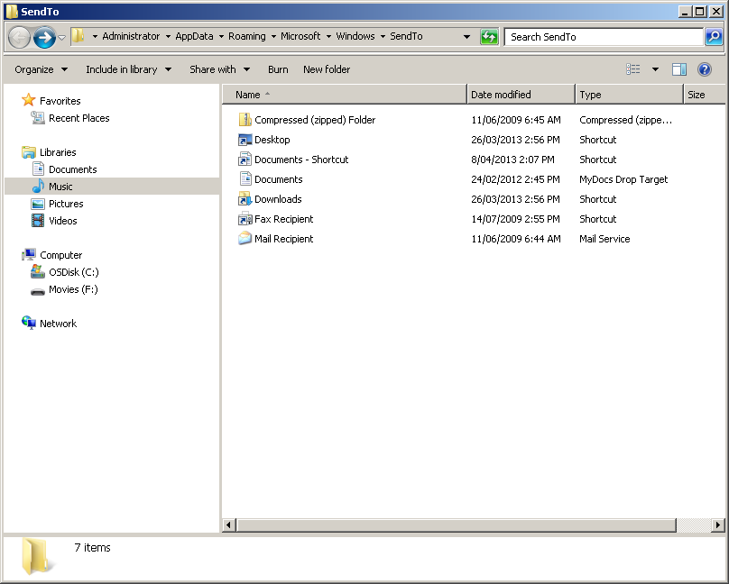 The Windows 7 file manager for comparison.