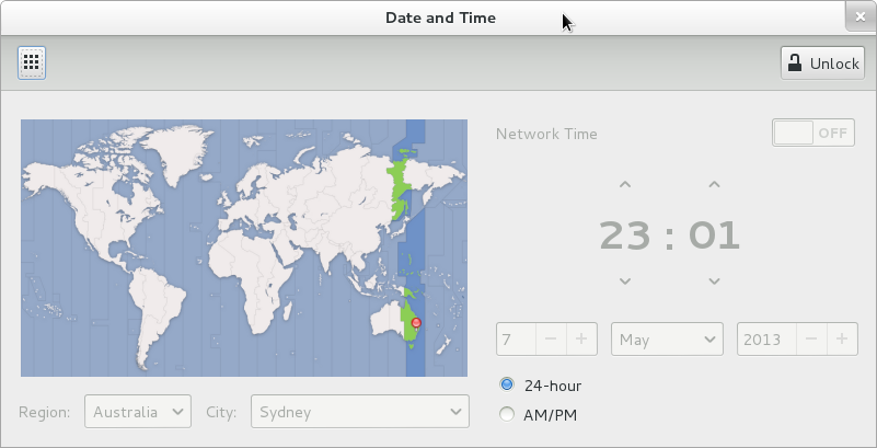 Gnome Shell time/date settings.