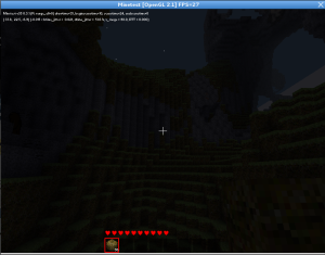 Minetest running on Debian 7.0.