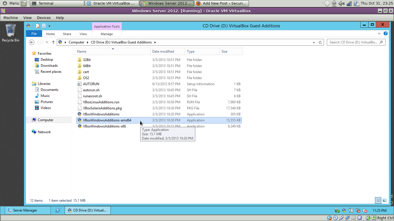 Installing the guest additions in Windows 2012.
