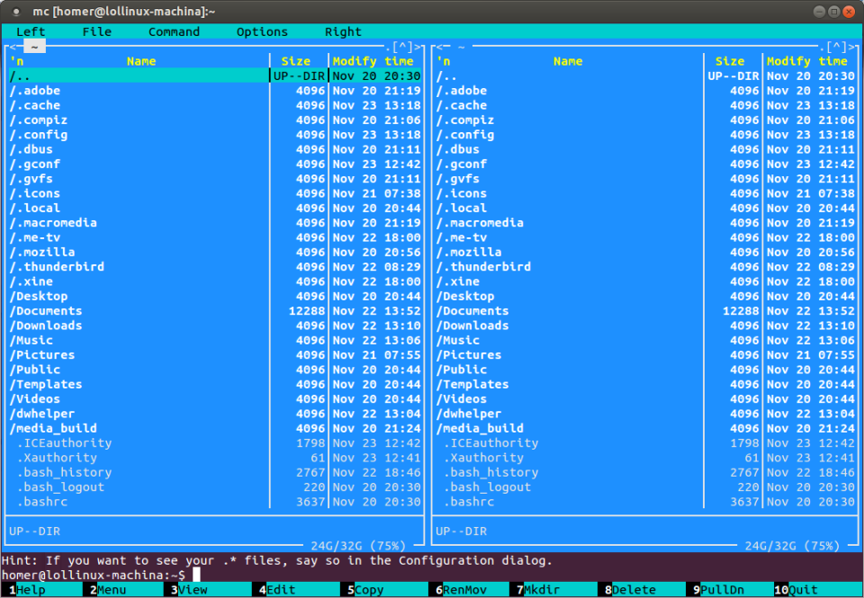 Midnight Commander file manager.