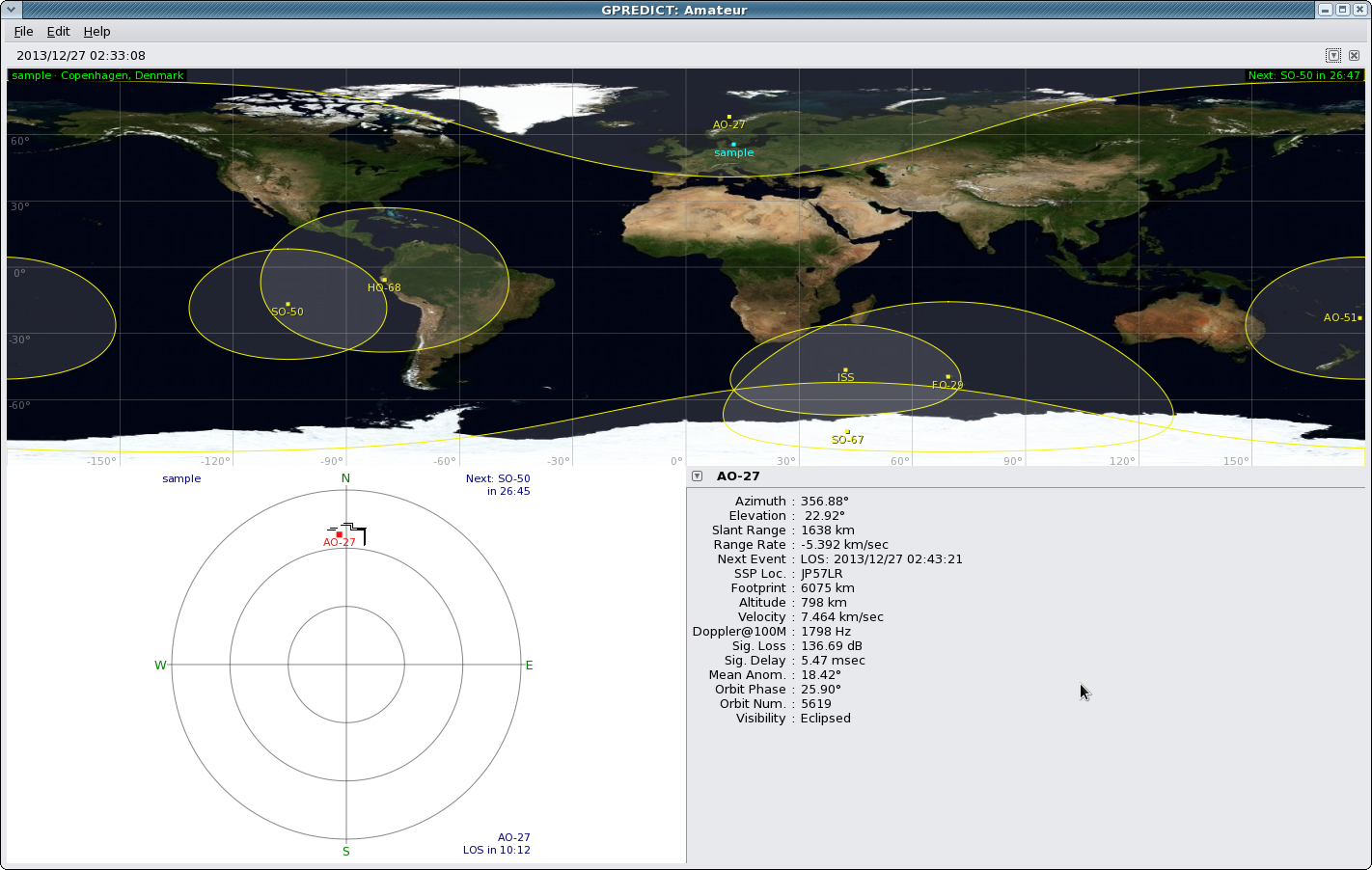 The Gpredict software in action.