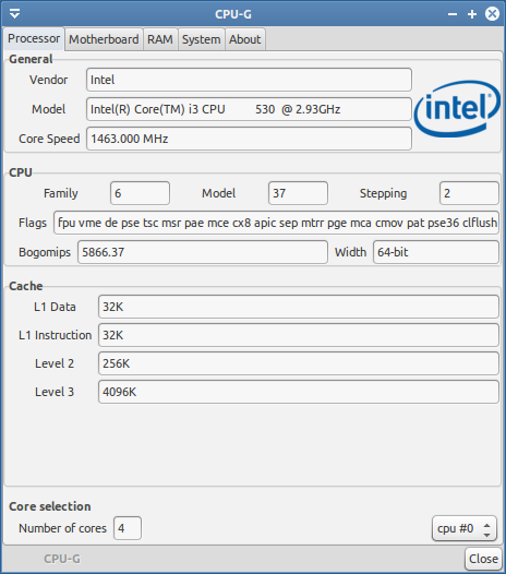 The cpu-g utility. Showing CPU information.