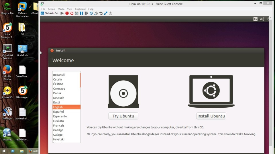 5nine manager running our Ubuntu 14.10 VM.