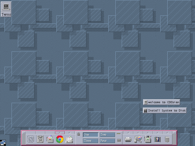 The CDE desktop running on Debian.