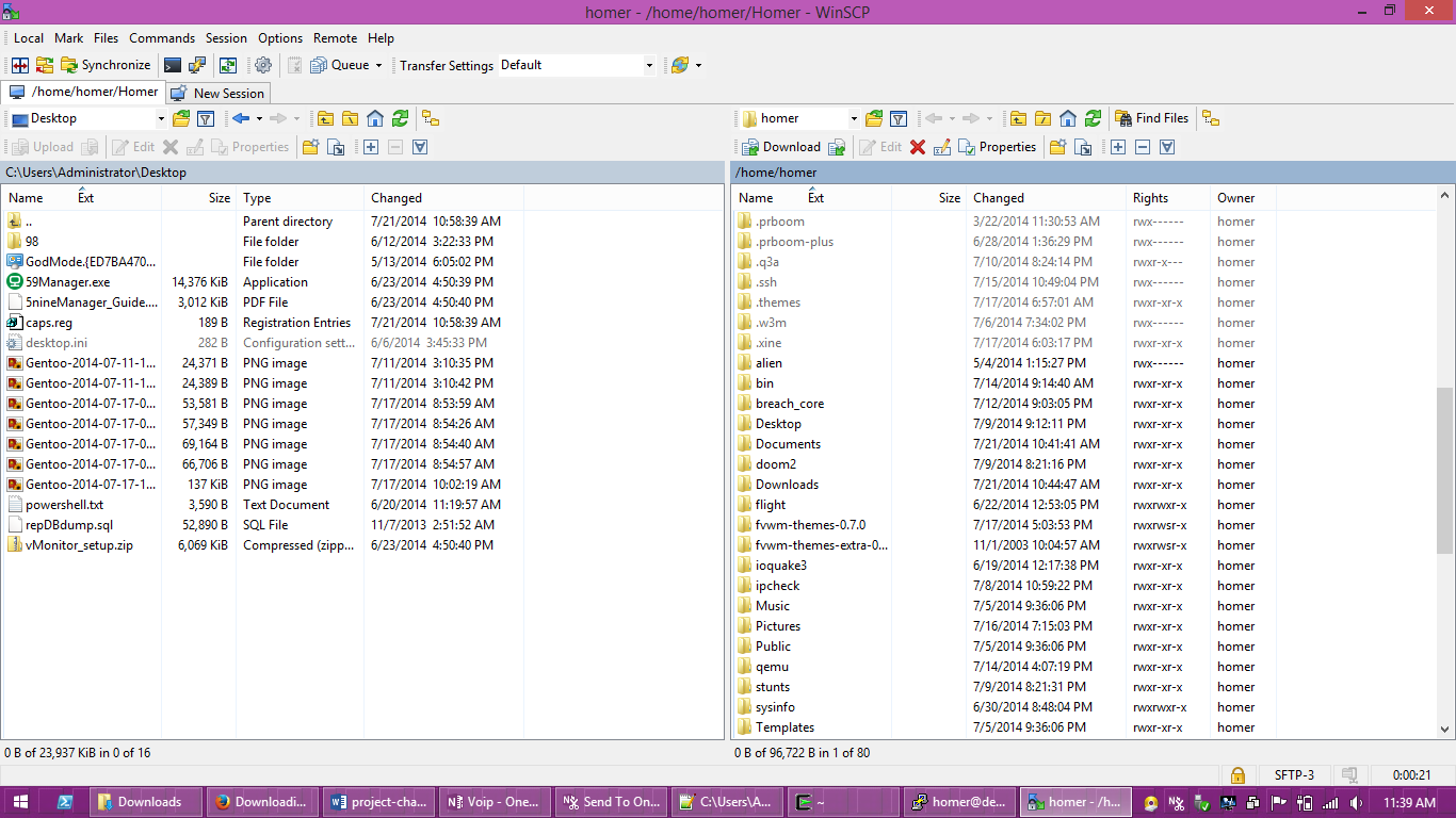WinSCP. A good way to copy files from a Linux machine.