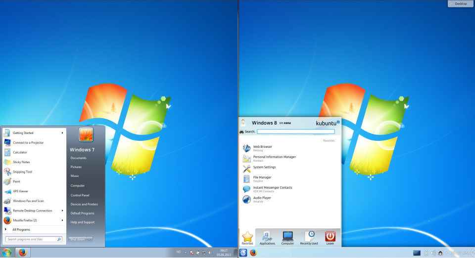 Windows 7 and KDE 5 side by side.