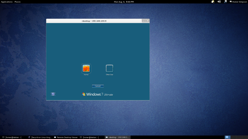 Debian rdesktop example. Connecting to Windows 7.