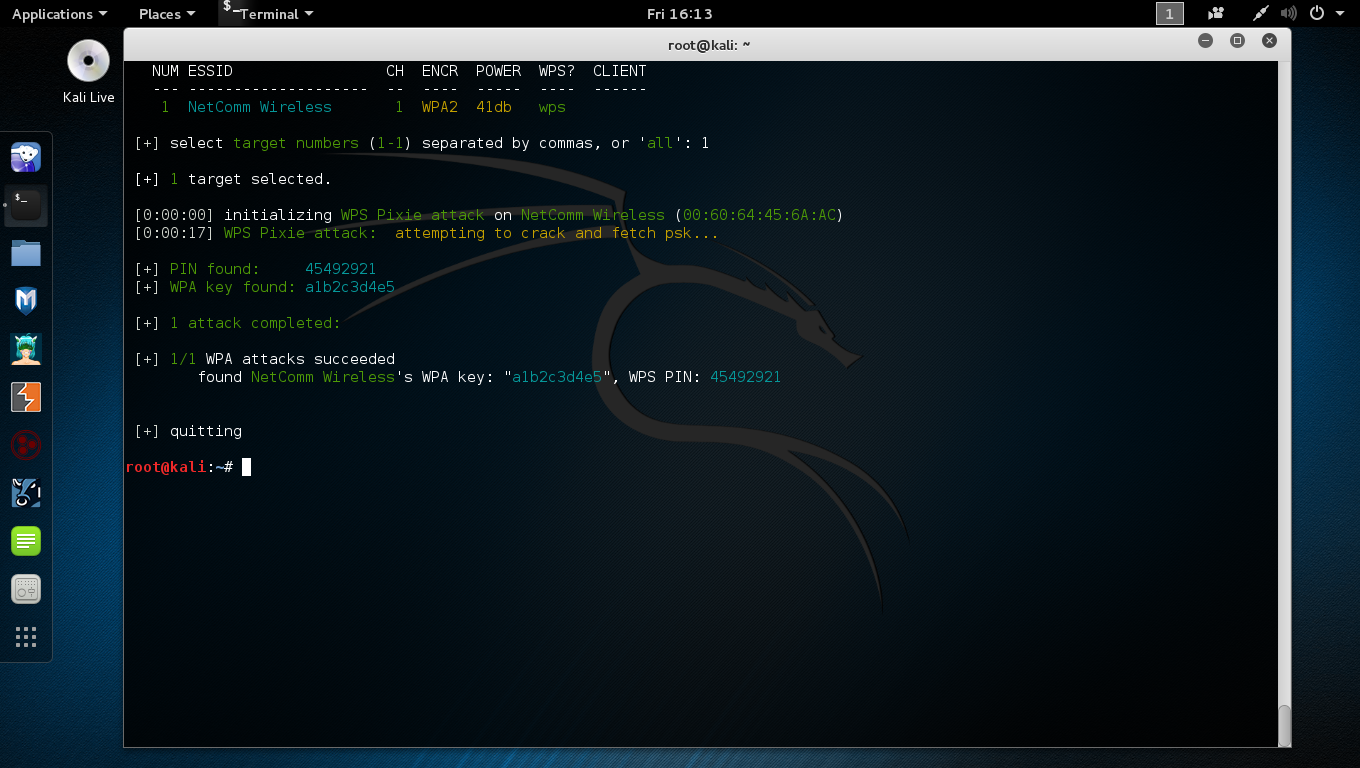 Cracking a WIFI network with wifite.