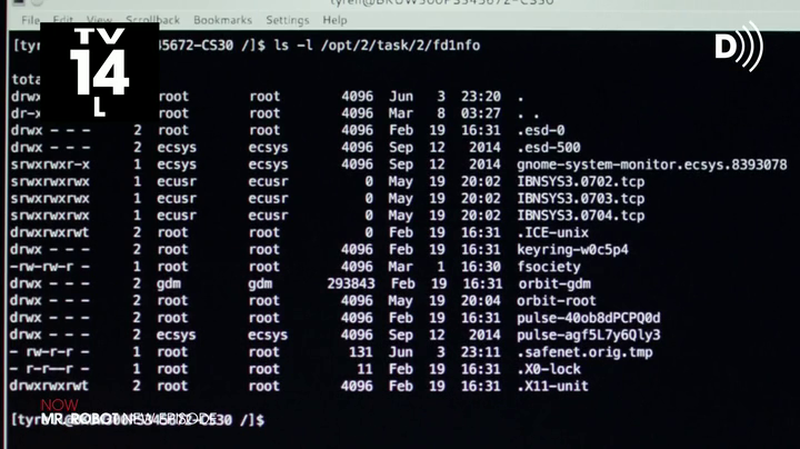 Linux command line usage in the show Mr Robot.