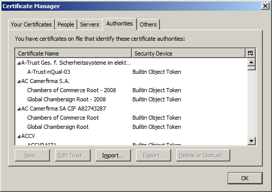 Certificates in a web browser.