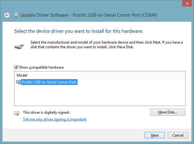 Updating the Prolific driver in Device Manager.