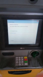Windows 7 activation on an ATM machine.