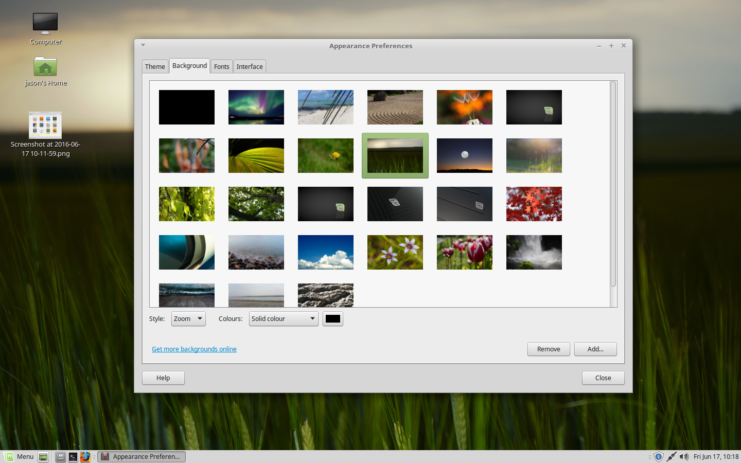 Selecting a wallpaper in Linux Mint. – Securitron Linux blog.
