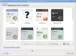 Linux Mint MATE themes chooser.