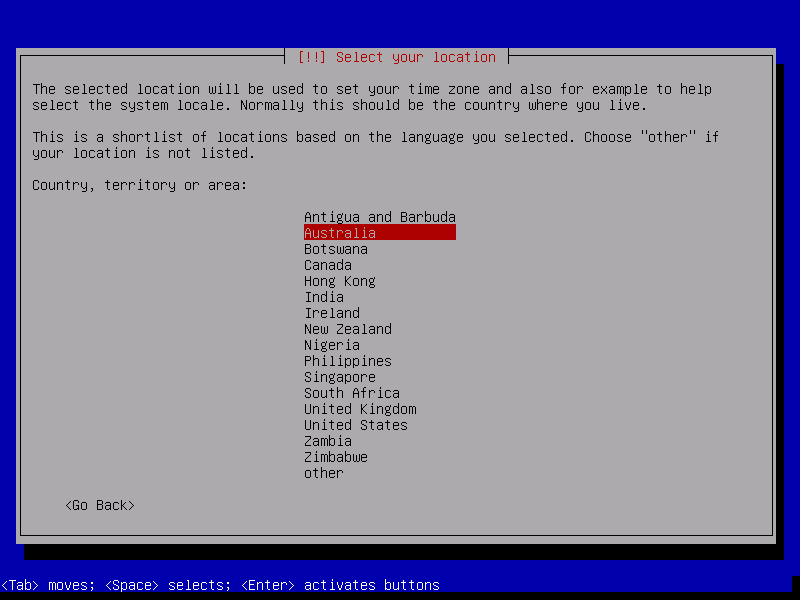 Debian 8 country selection.