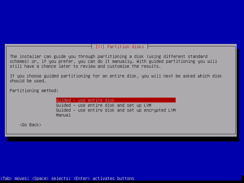 Debian 8 netinstall. Select the partioning option.