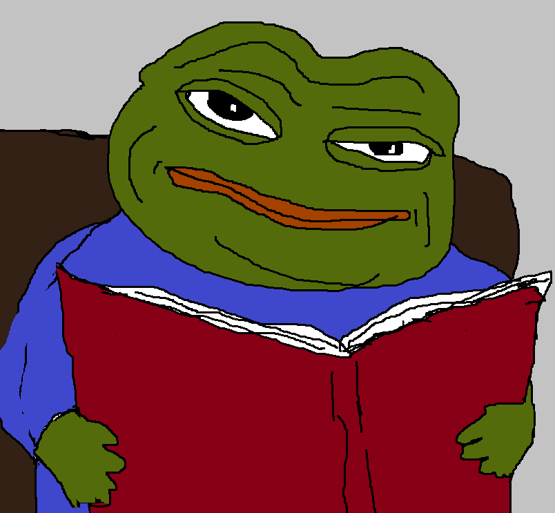 Kek Frog meme reading a book.