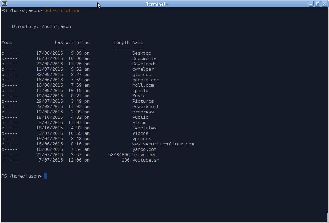 Listing a directory in Powershell.