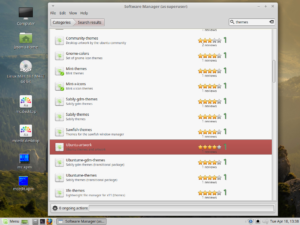 Themes available in the software manager for Linux Mint.