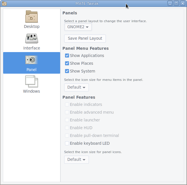 Change the MATE panel layout easily with the MATE Tweak Tool.